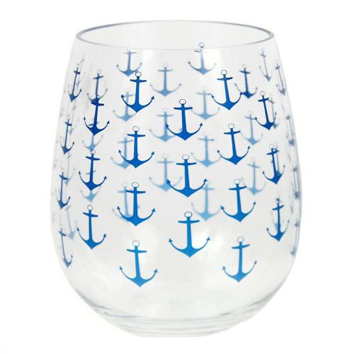 Anchor Ahoy Acrylic Stemless Wine Glass - 20449
