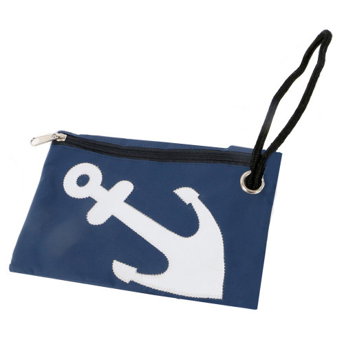 Nautical Anchor Wristlet Zipper Pouch Blue 20059B