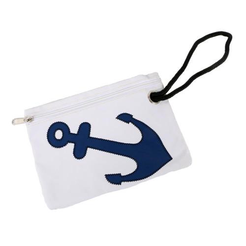 Nautical Anchor Wristlet Zipper Pouch White 20059W