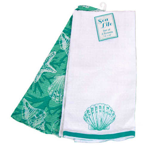 Tropical Shell Set of 2 Cotton Towels 25142F