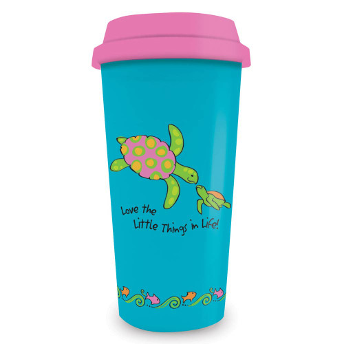 Swimming Sea Turtle Plastic Travel Mug 770-18
