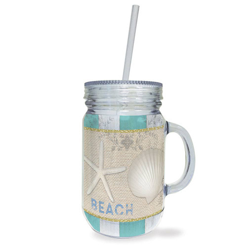 Tropical Sea Shell Acrylic Mason Jar Travel Cup with Lid Straw - 728-23