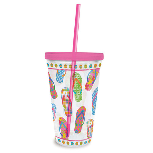 Flip Flops Insulated Plastic Tumbler with Lid & Straw - 825-86