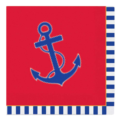 Anchor Nautical Beverage Paper Cocktail Napkins 15-180