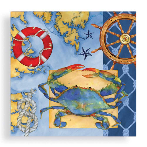 Blue Crab Square Dinner Paper Napkin 20-030