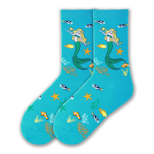 Tropical Mystical Mermaid Crew Socks Turquoise - KBWS16H002-01