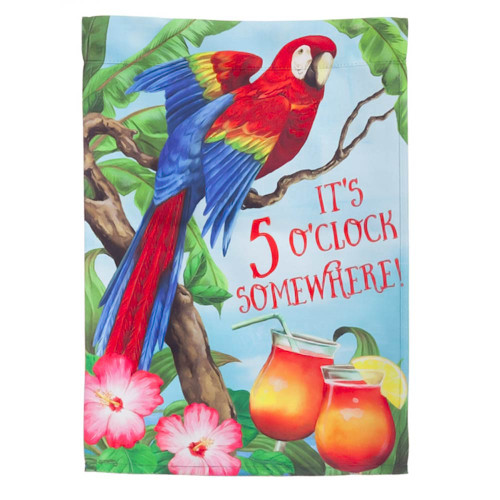 Tropical Paradise Parrot Macaw 5 OClock Garden Flag 14S3789