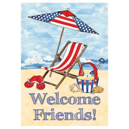 Welcome Friends Patriotic Beach House Size Flag - HFBL-H00026