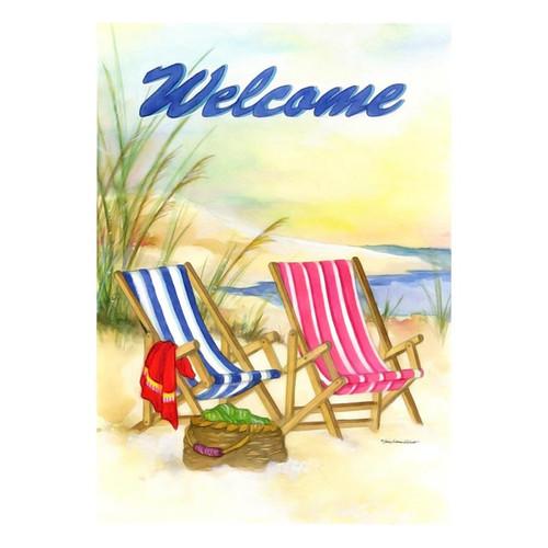 Welcome Beach Chairs Garden Flag - GFBL-G00046