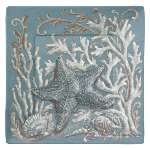 "Starfish Ocean Wonder 8"" Square Lunch Plate Melamine 21282"