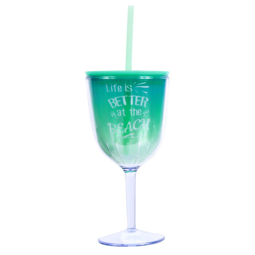 Life is Better at Beach Insulated Plastic Wine Goblet Lid & Straw - 25266L