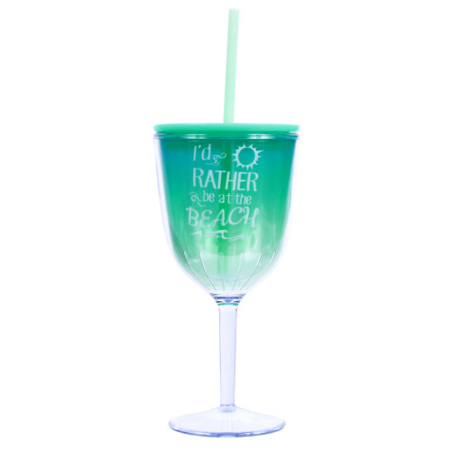 I'd rather be at Beach Insulated Plastic Wine Goblet Lid & Straw - 25266R