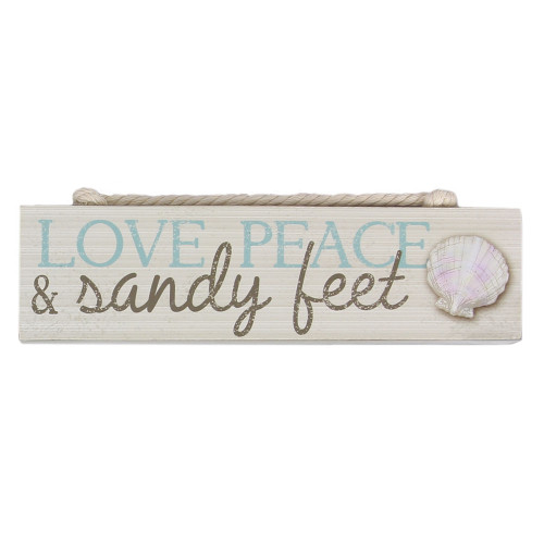 Love Peace Sandy Feet Wood Block Sign 15535LO