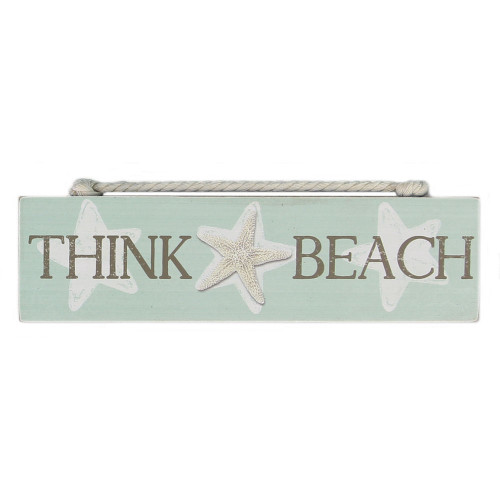 Think Beach Wood Block Sign 15535TH