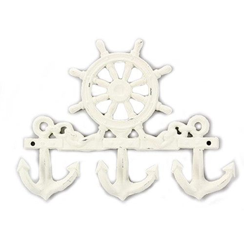 "Shabby Cast Iron Metal Nautical Anchor Wall Hook 9"" 16388"
