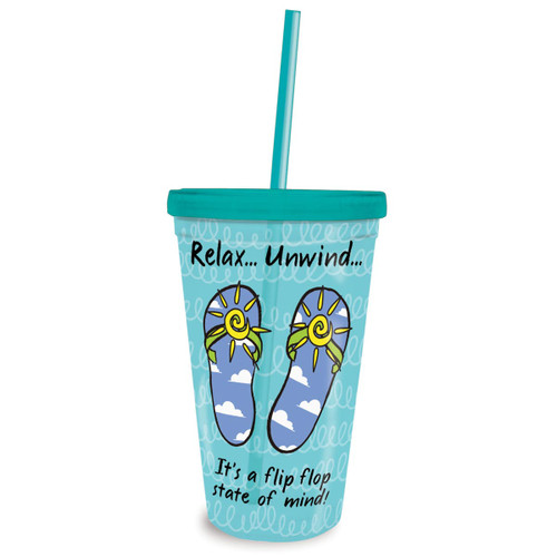 Flip Flop State of Mind Insulated 16oz Tumbler & Straw 825-89