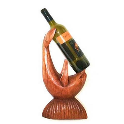 Dolphin Carved Wood Wine Bottle Holder 56-3-1400