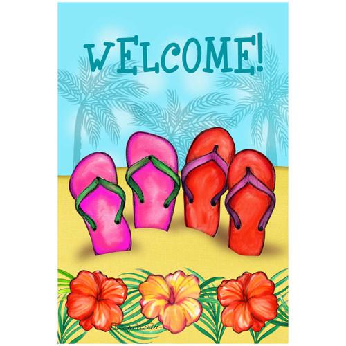 Tropical Flip Flop Welcome GARDEN Flag - 1110395