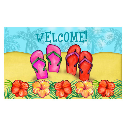 Tropical Beach Flip Flop Welcome Floor Mat - 800256