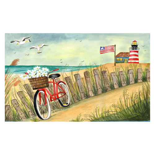 Tropical Beach Bike Lighthouse Floor Mat - 800246