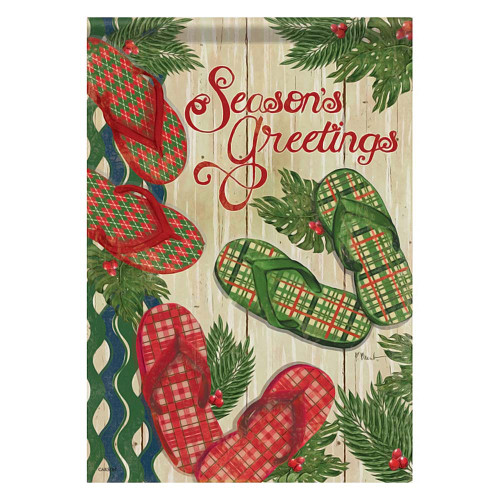 Flip Flop Holiday Seasons Greetings GARDEN Flag - 45691