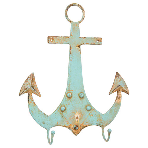 "Shabby Metal Nautical Anchor Wall Hook 11"" x 9"" - 31812"