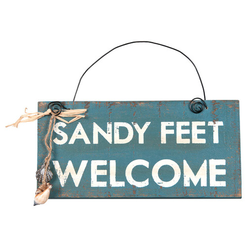 "Sandy Feet Welcome 8"" x 4"" Sign - 21033"