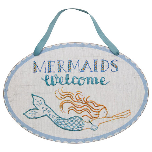 "Mermaids Welcome Wood 14"" x 9"" Sign - 27537"