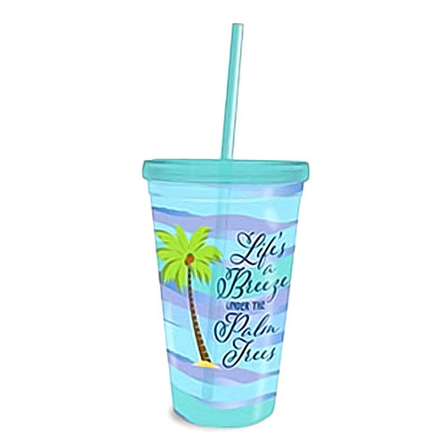 Lifes a Breeze Under Palm Trees Insulated 16oz Tumbler & Straw 825-88