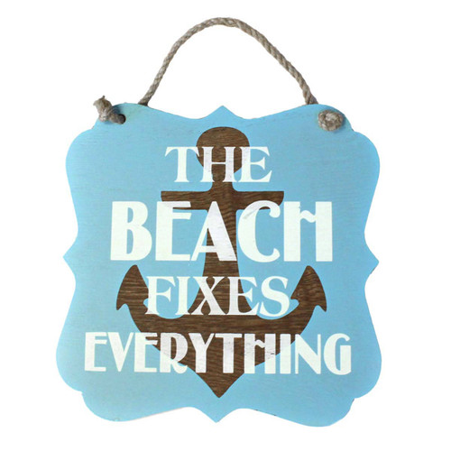 "Anchor Beach Fixes Everything Wood 7"" x 7"" Sign - 16264FIX"