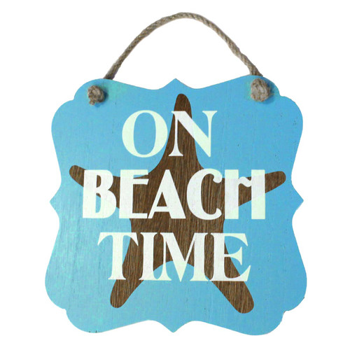"Starfish On Beach Time Wood 7"" x 7"" Sign - 16264TIME"