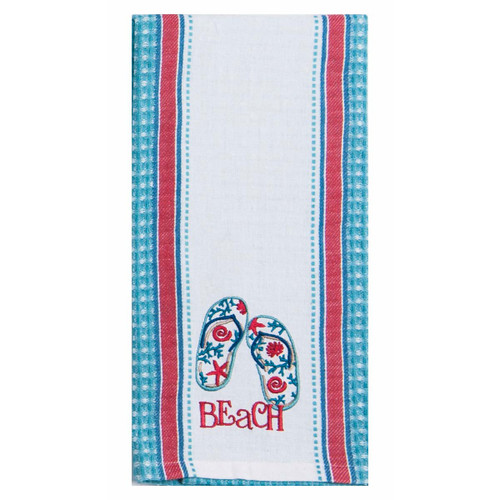 Beach Flip Flops Embroidered Cotton Tea Towel - R3278