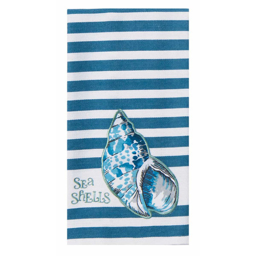 Blue Shells Beach Cotton Tea Towel - R3287
