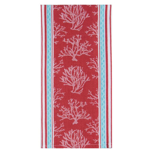 Tropical Red Coral Jacquard Dish Towel - R3286