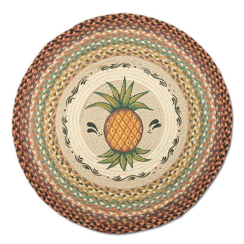 "Pineapple 27"" Hand Printed Round Braided Floor Rug RP-375"