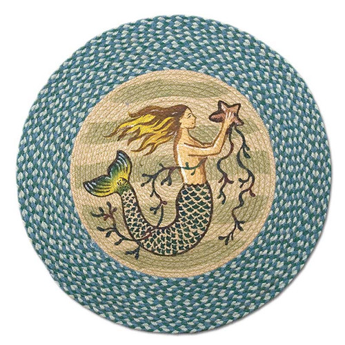 "Mermaid 27"" Hand Printed Round Braided Floor Rug RP-245"