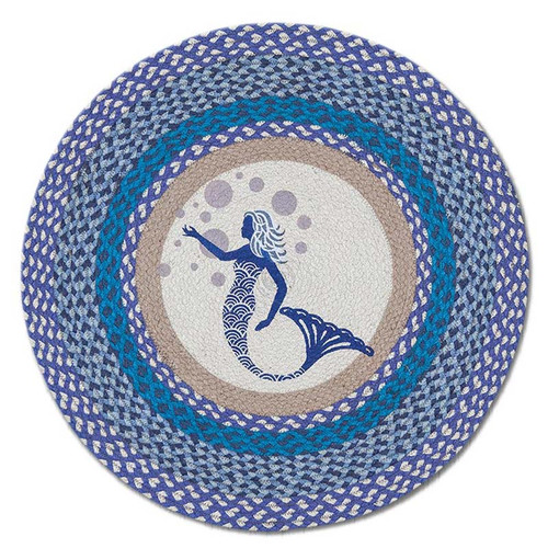 "Blue Mermaid 27"" Hand Printed Round Braided Floor Rug RP-527"