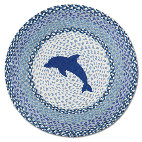 "Blue Dolphin 27"" Hand Printed Round Braided Floor Rug RP-525"
