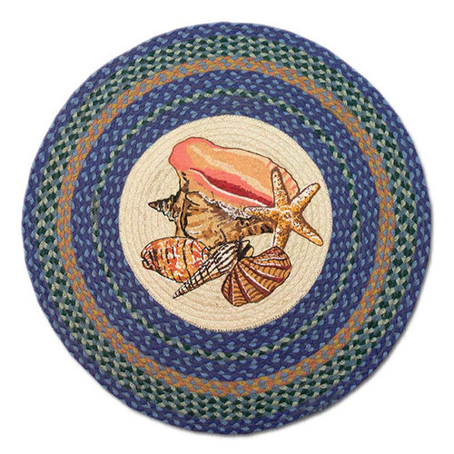"Sea Shells 27"" Hand Printed Round Braided Floor Rug RP-353"