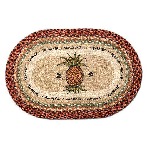 Pineapple 20x30 Hand Printed Oval Braided Floor Rug OP-375