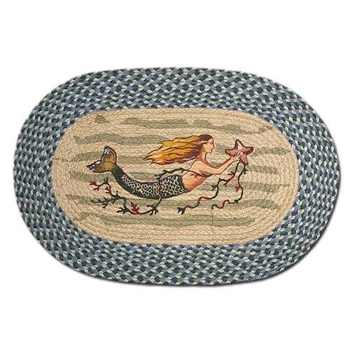 Mermaid 20x30 Hand Printed Oval Braided Floor Rug OP-245