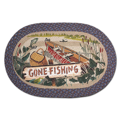 Gone Fishing 20x30 Hand Printed Oval Braided Floor Rug OP-355