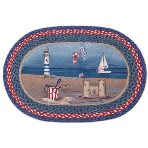 American Coast 20x30 Hand Printed Oval Braided Floor Rug OP-435