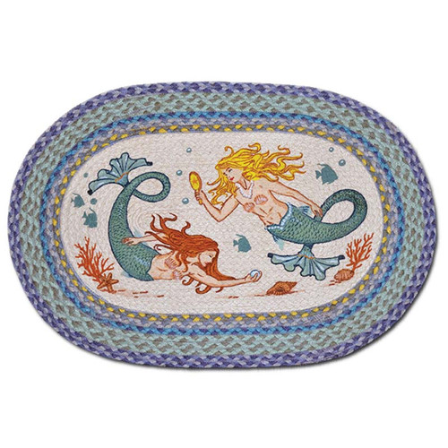 Mermaid Sisters 20x30 Hand Printed Oval Braided Floor Rug OP-386
