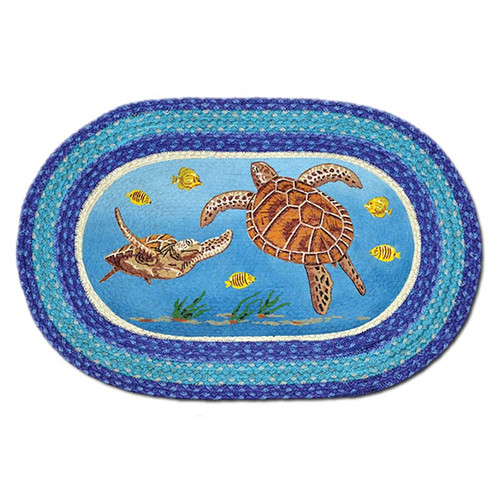 Sea Turtle 20x30 Hand Printed Oval Braided Floor Rug OP-384