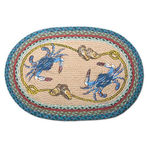 Blue Crabs 20x30 Hand Printed Oval Braided Floor Rug OP-359