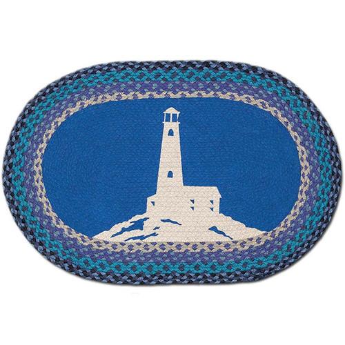 Lighthouse 20x30 Hand Printed Oval Braided Floor Rug OP-445
