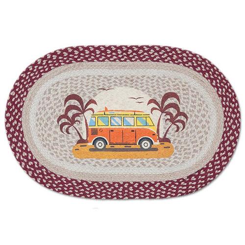 Endless Summer Van 20x30 Hand Printed Oval Braided Floor Rug OP-524