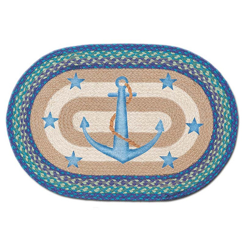 Blue Anchor 20x30 Hand Printed Oval Braided Floor Rug OP-433