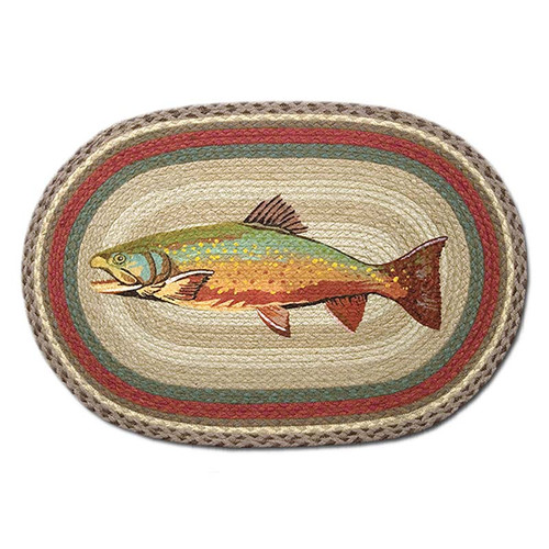 Trout 20x30 Hand Printed Oval Braided Floor Rug OP-244